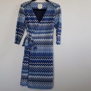 Blue wrap dress, 3/4 sleeves, size S